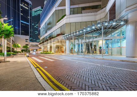 entrance of modern office building at night,Hong Kong,china.