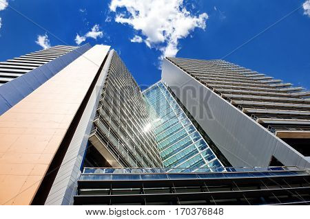 Modern business skyscraper building in Barcelona Spain Europe