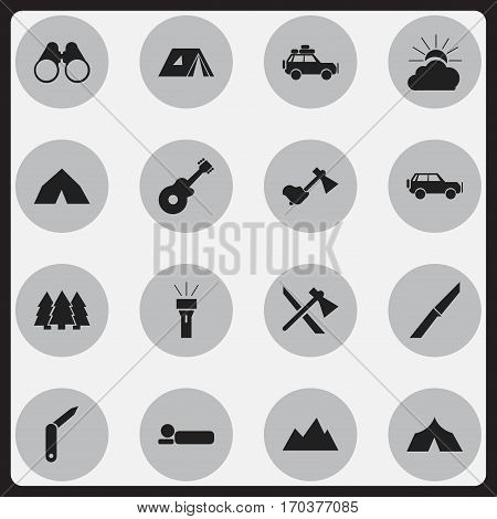 Set Of 16 Editable Trip Icons. Includes Symbols Such As Bedroll, Field Glasses, Musical Instrument And More. Can Be Used For Web, Mobile, UI And Infographic Design.