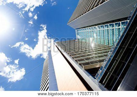 Modern skyscrapers in business district Poblenou Barcelona Spain