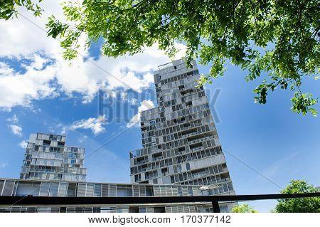 Modern architecture building in Poblenou district Barcelona Spain