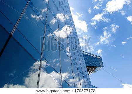 Glass office building in Barcelona Spain - concept of business and financial