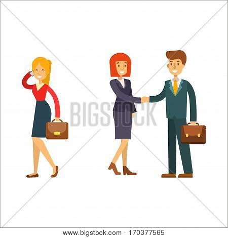 Business people man and woman vector illustration. Collection of full length portraits of professional portrait community characters. Success occupation person.