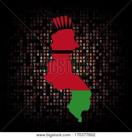 Malawi map flag on hex code 3d illustration