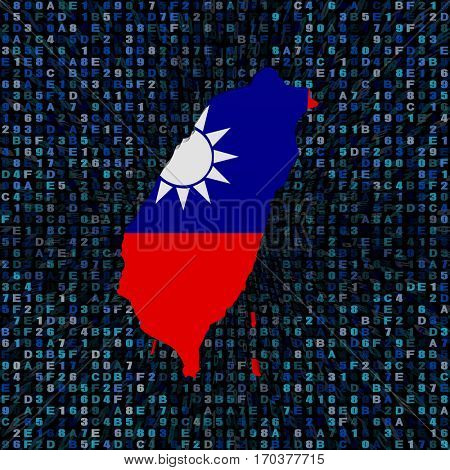 Taiwan map flag on hex code 3d illustration