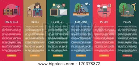 Education and Science Vertical Banner Concept   Set of great vertical banner flat design illustration concepts for education, science, learning, reading and much more.