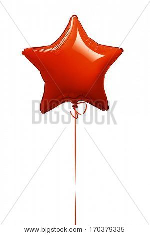 Red star balloon isolated on white -Clipping Path