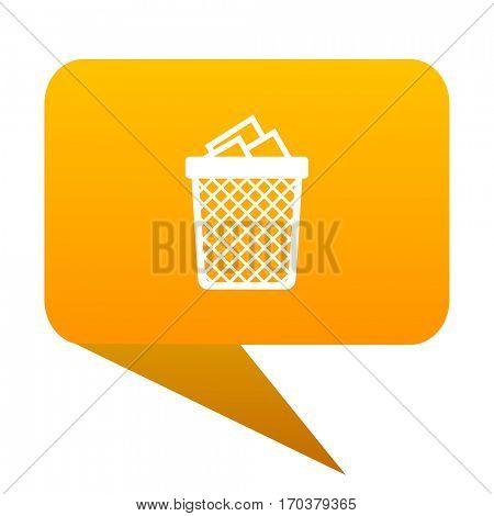 Trash can orange bulb web icon isolated.