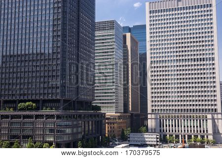 Dense of high rise buildings in Marunouchi, Tokyo