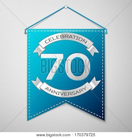 Blue pennant with inscription Seventy Years Anniversary Celebration Design over a grey background. Silver ribbon. Colorful template elements for your birthday party. Vector illustration