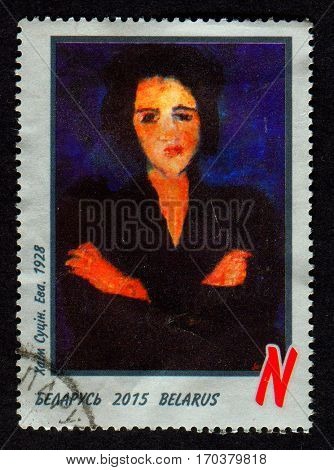 GOMEL, BELARUS, 1 FEBRUARY 2017, Stamp printed in Belarus shows image of portrait EVA, Chaim Soutine (13 January 1893 - 9 August 1943) was a Russian painter of Belarusian Jewish origin, circa 2015.