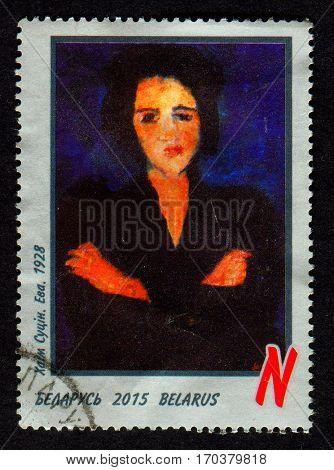 GOMEL, BELARUS, 1 FEBRUARY 2017, Stamp printed in Belarus shows image of portrait EVA, Chaim Soutine (13 January 1893 - 9 August 1943) was a Russian painter of Belarusian Jewish origin, circa 2015.