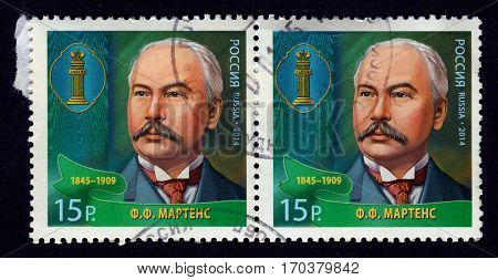 GOMEL, BELARUS, 1 FEBRUARY 2017, Stamp printed in Russia shows image of the Friedrich Fromhold Martens, was a diplomat and jurist in service of the Russian Empire, circa 2014.
