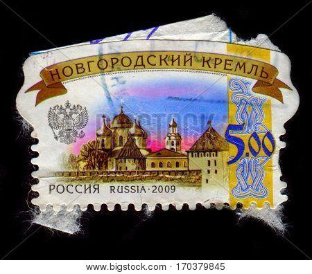 GOMEL, BELARUS, 1 FEBRUARY 2017, Stamp printed in Russia shows image of the Novgorod Kremlin stands on the left bank of the Volkhov River in Veliky Novgorod.