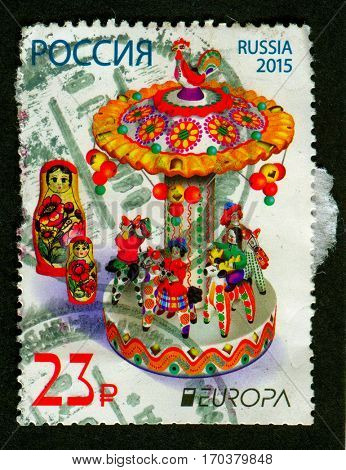 GOMEL, BELARUS, 1 FEBRUARY 2017, Stamp printed in Russia shows image of the matryoshka doll, is a set of wooden dolls of decreasing size placed one inside another, circa 2015.