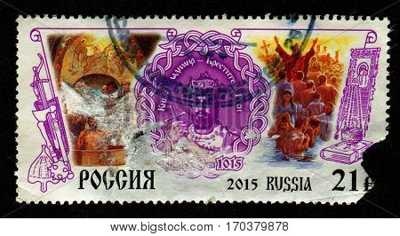 GOMEL, BELARUS, 1 FEBRUARY 2017, Stamp printed in Russia shows image of the Vladimir Sviatoslavich the Great was a prince of Novgorod, grand prince of Kiev, and ruler of Kievan Rus, circa 2015.