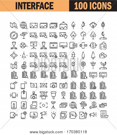 Thin line icon set. Collection of high quality flat icon for web design or mobile app. Interface, map, computer, picture, photo vector illustration. Phone, communication, to do list, plant icon set.