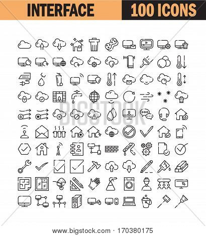 Thin line icon set. Collection of high quality flat icon for web design or mobile app. Interface, cloud, computer, construction vector illustration. Home, real estate, hygiene, conditioning icon set.