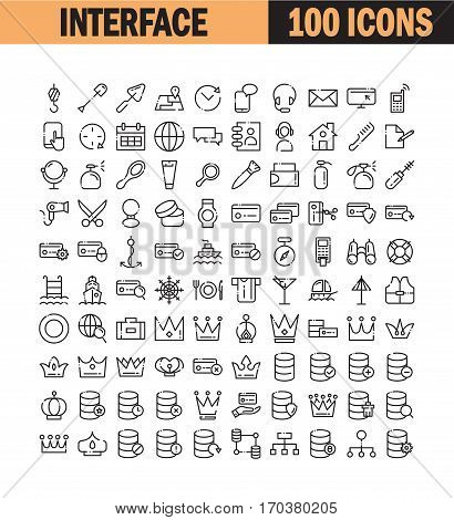 Thin line icon set. Collection of high quality flat icon for web design or mobile app. Interface, data computer, construction vector illustration. Home, cosmetic, crow, credit card icon set.