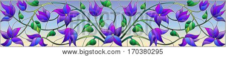 Illustration in stained glass style with abstract blue flowers on a sky backgroundhorizontal orientation
