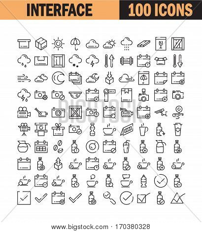 Thin line icon set. Collection of high quality flat icon for web design or mobile app. Interface, box, weather, cloud vector illustration. Calendar, camera, water, check, coffee icon set.