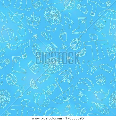 Seamless pattern on the theme of autumn a simple outline icons on a blue background