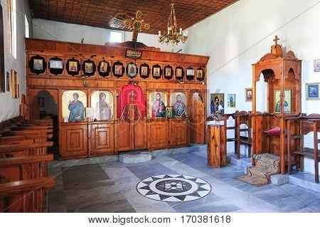 Berat, Albania - 28 June 2013: The indoor of St. Tommaso church at Berat on Albania