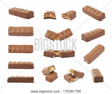 Caramel chocolate bar isolated over the white background, set of multiple different foreshortenings