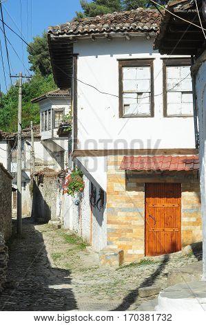 Berat, Albania - 27 June 2013: The old houses of Berat on Albania unesco world heritage