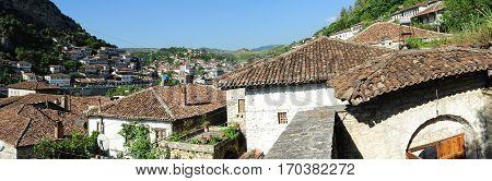 Berat, Albania - 24 June 2014: old houses of Berat on Albania, unesco world heritage