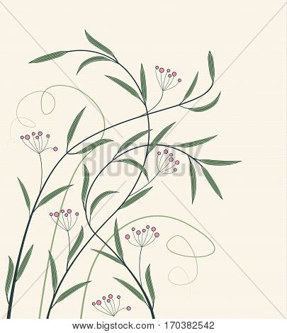 Vector illustration of decorations wildflowers, floral background