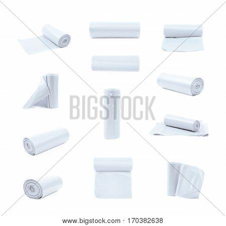 White plastic polyethylene trash bag roll isolated over the white background, set of multiple different foreshortenings