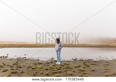 Woman in marsh