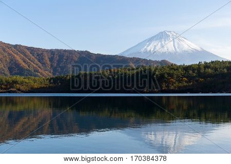 Mount Fuji and lake