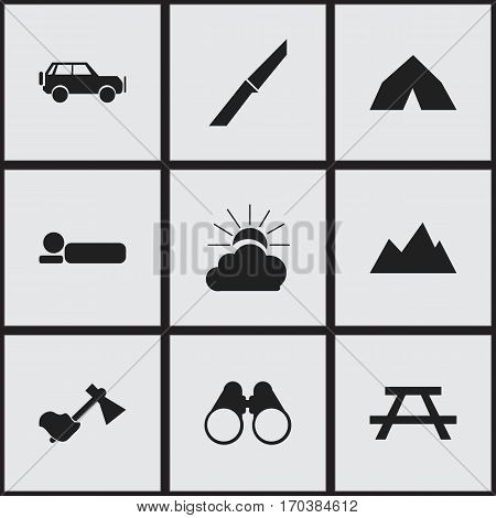 Set Of 9 Editable Trip Icons. Includes Symbols Such As Desk, Knife, Bedroll And More. Can Be Used For Web, Mobile, UI And Infographic Design.