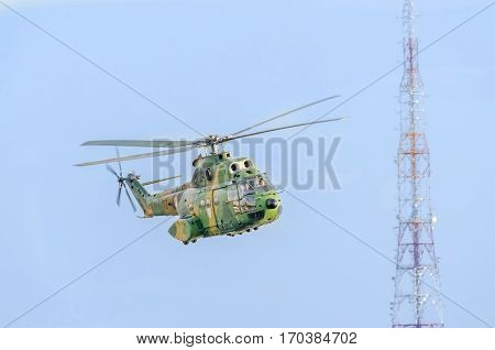 Puma Iar Helicopter Pilots Training In The Blue Sky, Telecommunications Antenna.