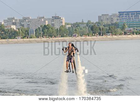 Bucharest, Romania - September 5, 2015. Acrobatic Jetsky Pilot Training On The Lake. Aeronautic Show