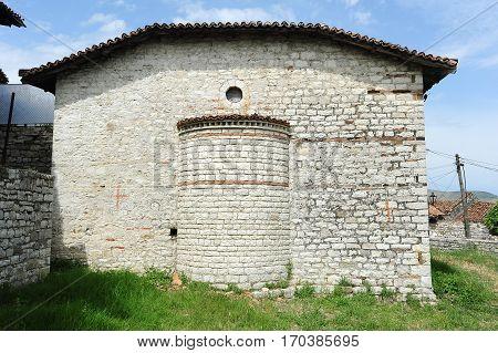 Berat, Albania - 23 January 2014: The chapel of St. Maria Blachemae at Kala over Berat on Albania