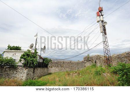 Berat, Albania - 23 January 2014: Telecommunication antennas of Berat on Albania
