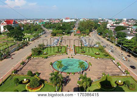 VIENTIANE, LAOS - OCTOBER 21, 2013: View from Patuxai in Vientiane, Laos