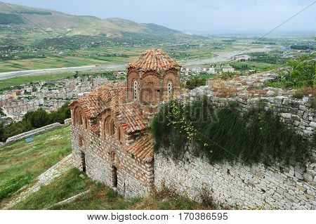 The orthodox church of holy Trinity at Kala fortless over Berat on Albania
