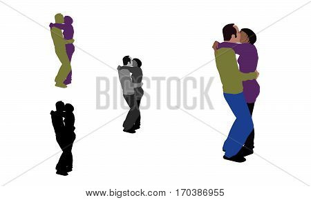 Realistic Flat Colored Illustration Of A French Kissing Couple