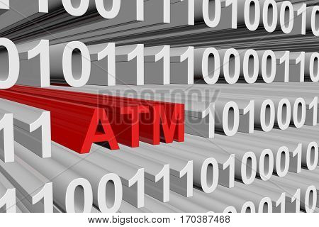 atm in the form of binary code 3d illustration