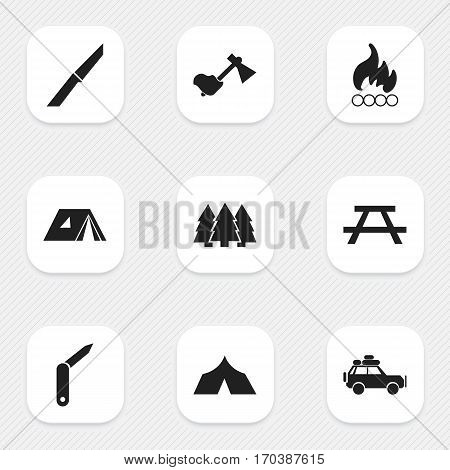 Set Of 9 Editable Travel Icons. Includes Symbols Such As Knife, Clasp-Knife, Desk And More. Can Be Used For Web, Mobile, UI And Infographic Design.