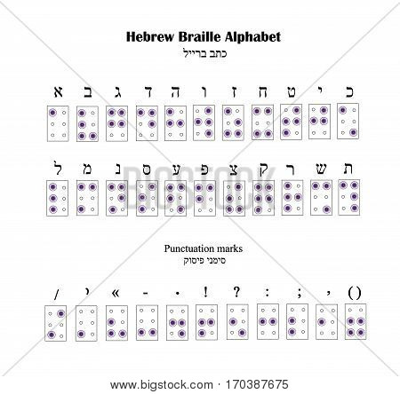 Hebrew Alphabet Braille. The font for blind people. Vector illustration.