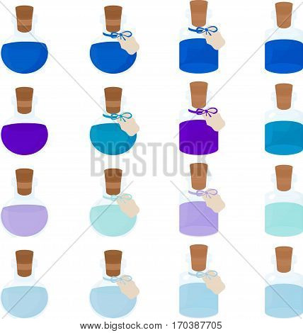 Glass blue bottle with wooden cork for cosmetic or medicine. isolated on white