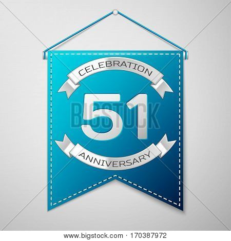 Blue pennant with inscription Fifty one Years Anniversary Celebration Design over a grey background. Silver ribbon. Colorful template elements for your birthday party. Vector illustration