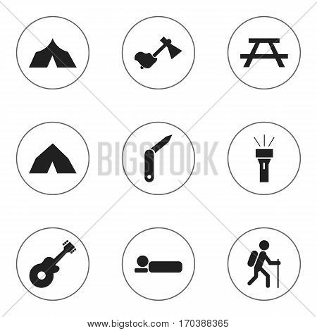 Set Of 9 Editable Camping Icons. Includes Symbols Such As Tepee, Gait, Musical Instrument And More. Can Be Used For Web, Mobile, UI And Infographic Design.