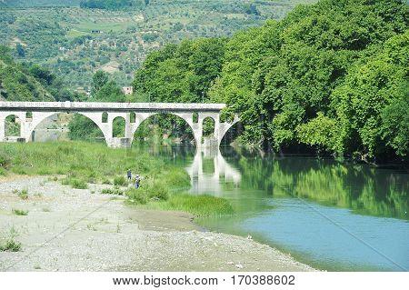 Stone bridge over Osum river at Berat on Albania