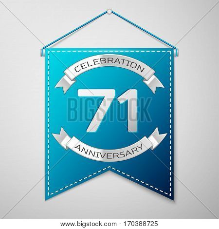 Blue pennant with inscription Seventy one Years Anniversary Celebration Design over a grey background. Silver ribbon. Colorful template elements for your birthday party. Vector illustration